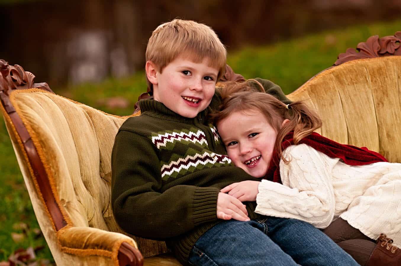 children, portrait, sofa, outdoor, natural light, Northern VA