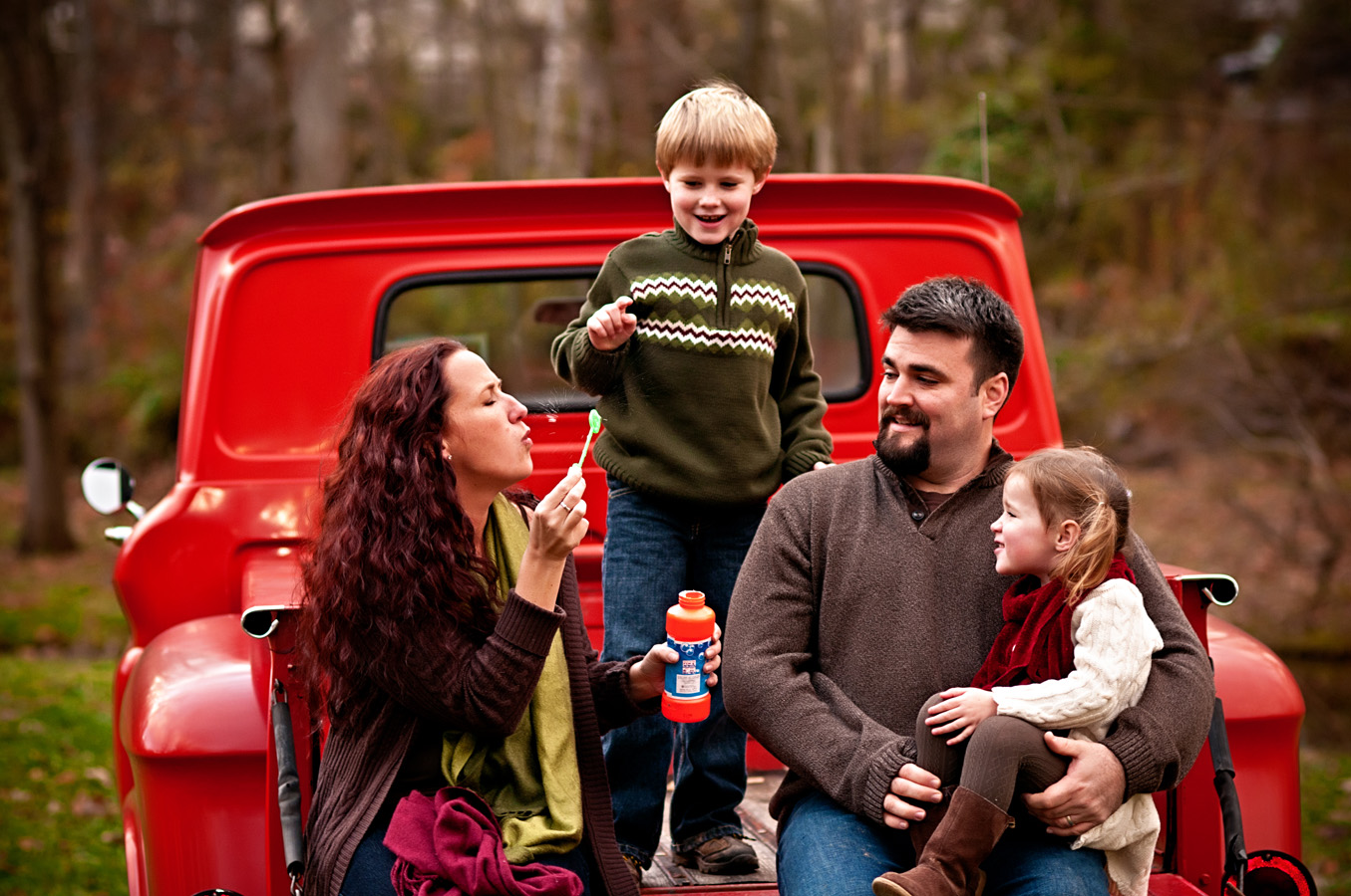 family portrait, outdoor, truck, natural light, Northern VA