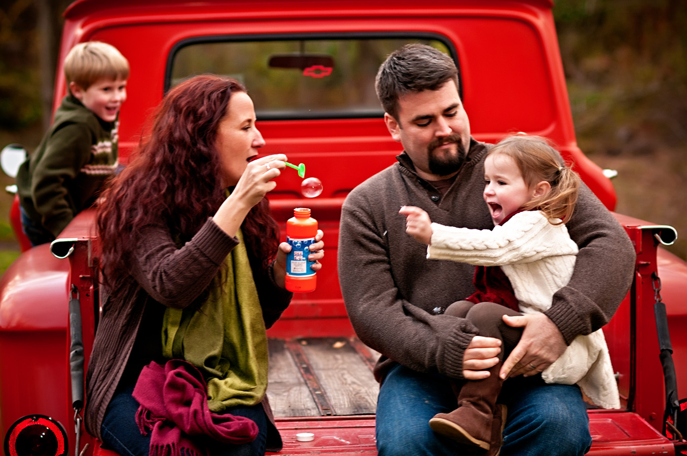 family portrait, truck, outdoor, natural light, Northern VA