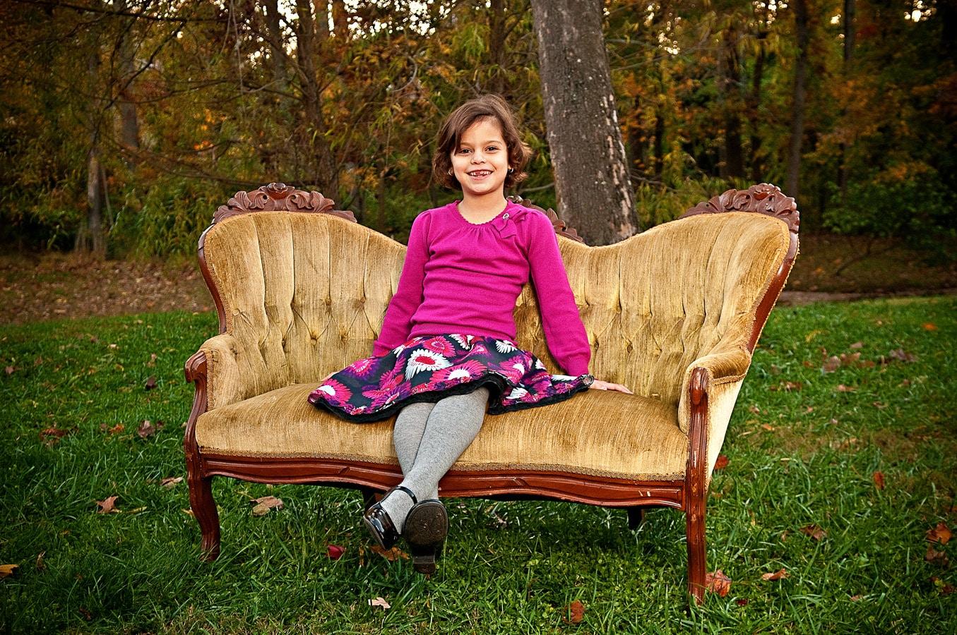child, portrait, outdoor, sofa, natural light, Northern VA