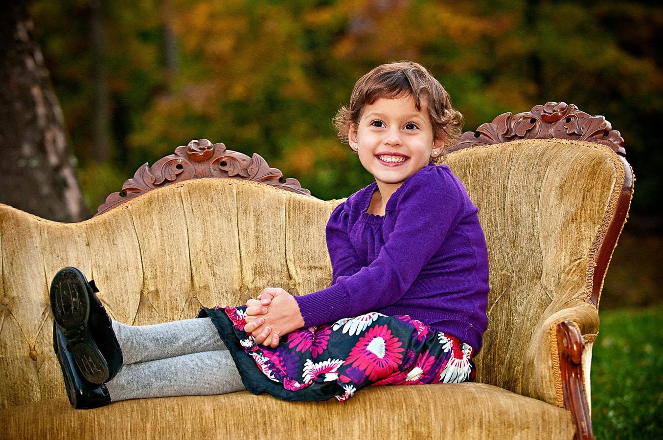 child, sofa, portrait, oudoor, natural light, Northern VA