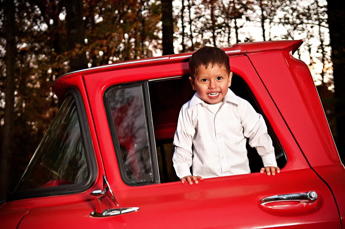 child, truck, outdoor, portrait, natural light, Northern VA
