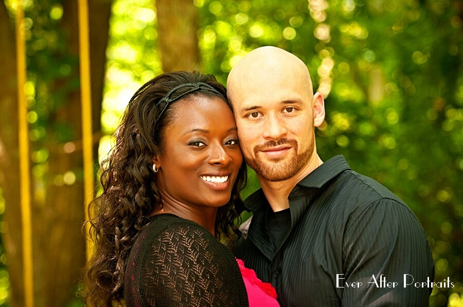 Young couple in outdoor portrait.
