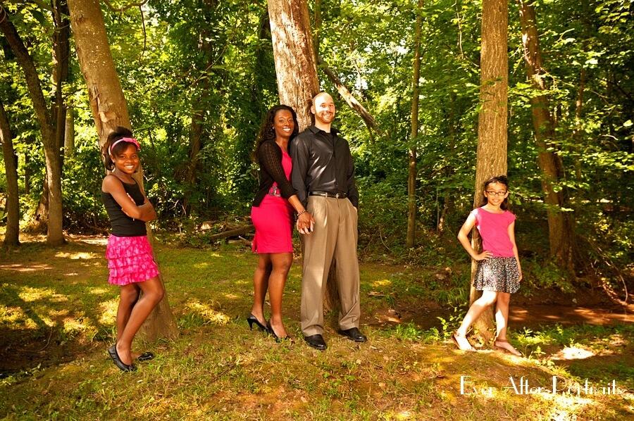 Happy family in outdoor studio