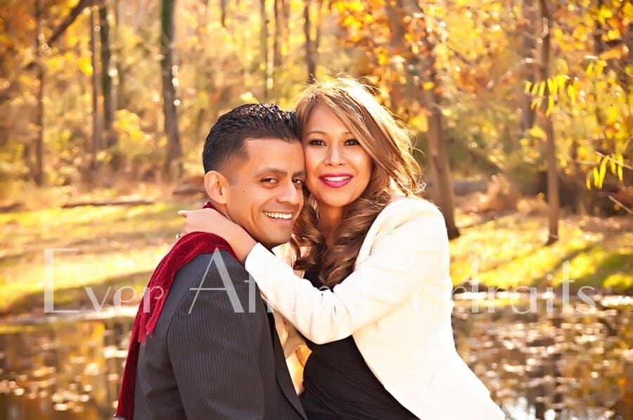 Smiling couple enjoying autumn