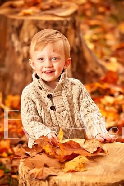 Little boy in brown sweater in autumn.
