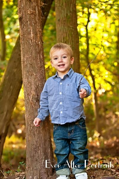 Little boy in plaid shirt and jeans