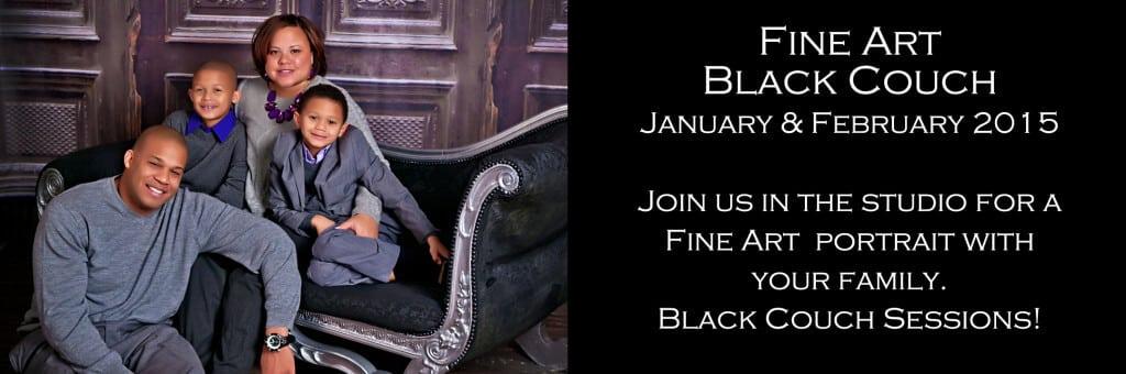 Black Couch Portrait Photography Studio Session