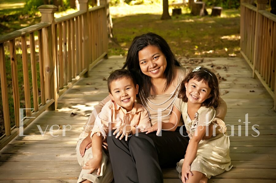 Candid mother and children portrait