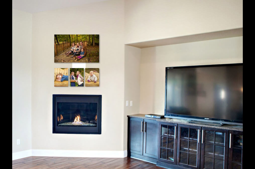 Studio Photographer Family Wall Collection Above The Fireplace.