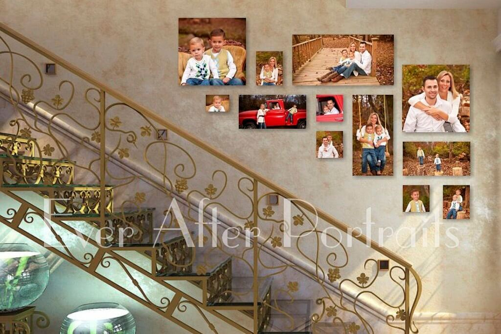 Family photographer staircase gallery