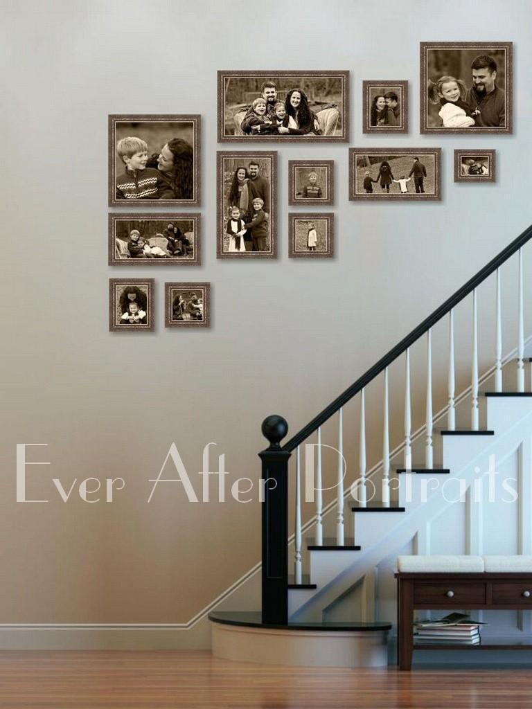 Framed artwork of family staircase family photographer