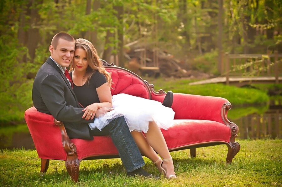 Ashley & Brian's Engagement in our Outdoor Studio